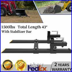 1500lbs 43 Tractor Bucket Forks For Bobcat Skid Steer Loader with Stabilizer Bar