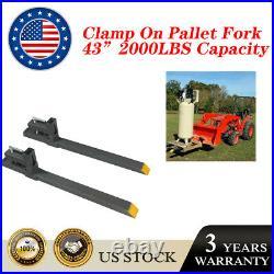 2000lb Tractor Pallet Fork 43 60'' Bucket Clamp On For Backhoe Skid Steer Loader