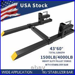 4000lb/1500lb Bucket Pallet Forks Clamp On Skid Steer Loader with Stabilizer Bar