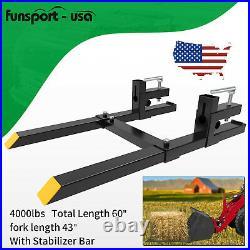 4000lb 60 Bucket Forks Skid Steer Loader Quick Attach Clamp Tractor Pallet Fork