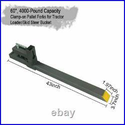 4000lbs 60 Clamp On Bucket Forks Pallet Forks For Tractor Skid Steer Loader
