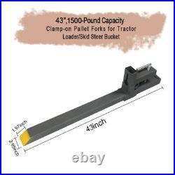 4000lbs 60 Tractor Pallet Forks Skid Steer Loader Bucket Clamp Forks 1500lb 43