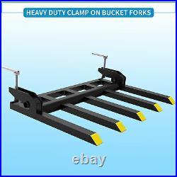 42 Clamp Debris Forks Tractor Skid Steer Loader Bucket Pallet Forks Heavy Steel