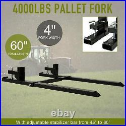 43 Skid Steer Pallet Fork Stabilizer Bar Clamp on Loader Bucket Tractor 4000lb