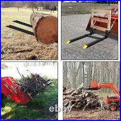 60 4000 lbs Clamp on Pallet Forks withStabilizer Bar Skid Steer Loader Bucket