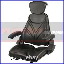 Black Vinyl Seat for TRACTOR RIDING MOWER SKID STEER LOADER FORKLIFT BACKHOE