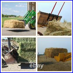 Bucket Dual 49 Hay Bale Spear Attachment Front Loader Tractor Skid Steer 3000Lb