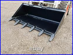 Es New 60 Tooth Bucket Skid Steer Loader Quick Attach Tractor Local Pick Up