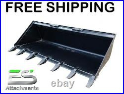 Es New 66 Tooth Bucket Skid Steer Quick Attach Loader Tractor Free Shipping