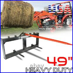 Hay Bale Spear Skid Steer Loader Tractor Quick Tach Attachment Moving 49 Steel