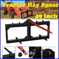 Hay Bale Spear Tractor Skid Steer Loader Attachment 3-Tine Spear Quick Attach 49