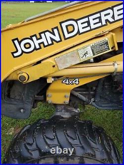 John deere 110 backhoe Loader TLB Low Hours, pto, 3 pt hitch, 4x4 skid steer qc