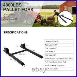 Skid Steer 60 4000lbs Pallet Fork Stabilizer Bar Clamp on Loader Bucket Tractor