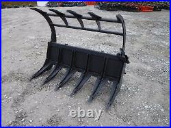 Skid Steer Tractor Loader Attachment 68 Root Rake Clam Grapple Ship $199
