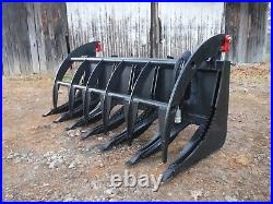 Skid Steer Tractor Loader Attachment 72 Root Rake Clam Grapple Ship $199