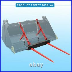 Universal Bucket Hay Bale Spear Front Skid Steer Loader Tractor Dual Tine 49